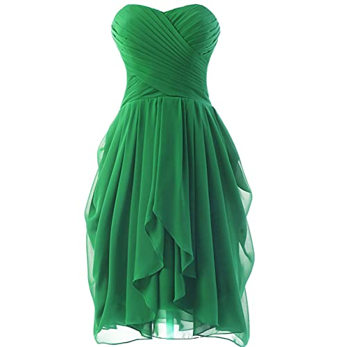 HUINI Strapless Short Chiffon Bridesmaid Prom Dresses Ruched Wedding Party Formal Gowns