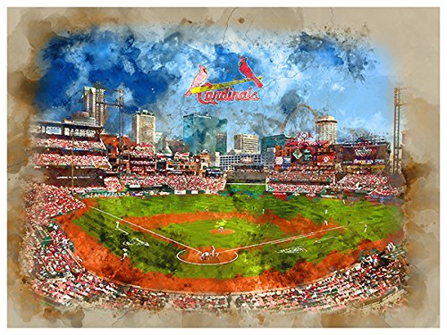 ATLAS St Louis Cardinals Poster Watercolor Art Print 12x16 Wall Decor (Color Louis Cardinals Print)