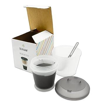 Schramm/® 4er Pack Joghurtbecher to go M/üsli-to-Go M/üslibecher mit integriertem K/ühlfach und L/öffel M/üslischale Joghurt Becher M/üslibeh/älter Joghurtbeh/älter f/ür unterwegs