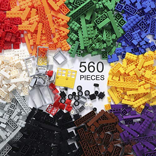 EXERCISE N PLAY 560 Piece Building Bricks Kit with Wheels, Tires, Axles, Windows and Doors Pieces - Classic Colors - Compatible with All Major Brands Include Mesh Bag ()