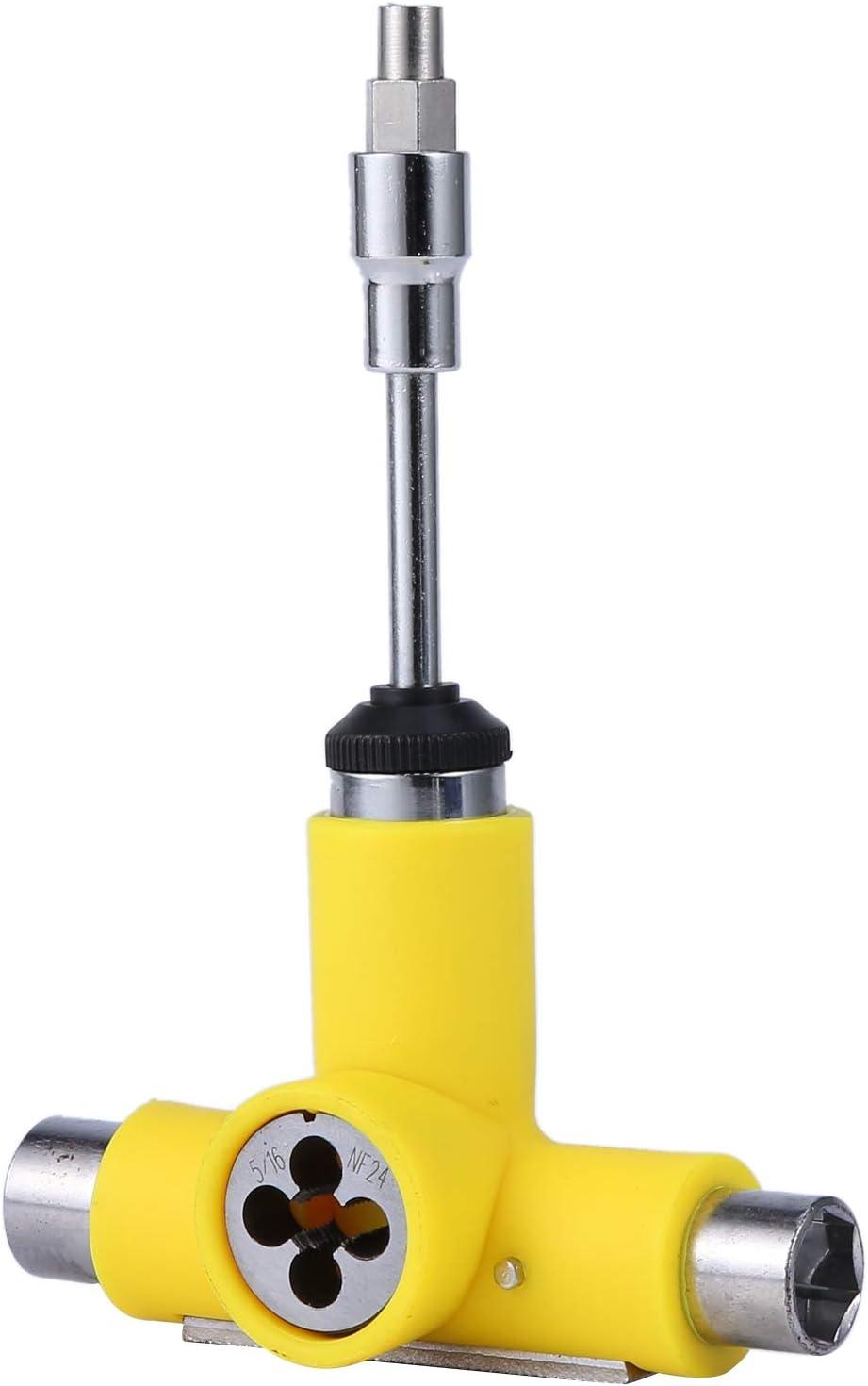 RETYLY Skateboard Wrench Skateboard Repair Kit Semi-Automatic Tool Skate Board T-Shape Multifunctional Roller Skate Heavy Duty Wrench Yellow