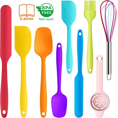 9 Pcs Silicone Spatula Set - Rubber Spatulas Silicone Heat Resistant for Non Stick Cookware - Kitchen Utensils for Baking, Mixing, Cooking,Dishwasher Safe Bakeware