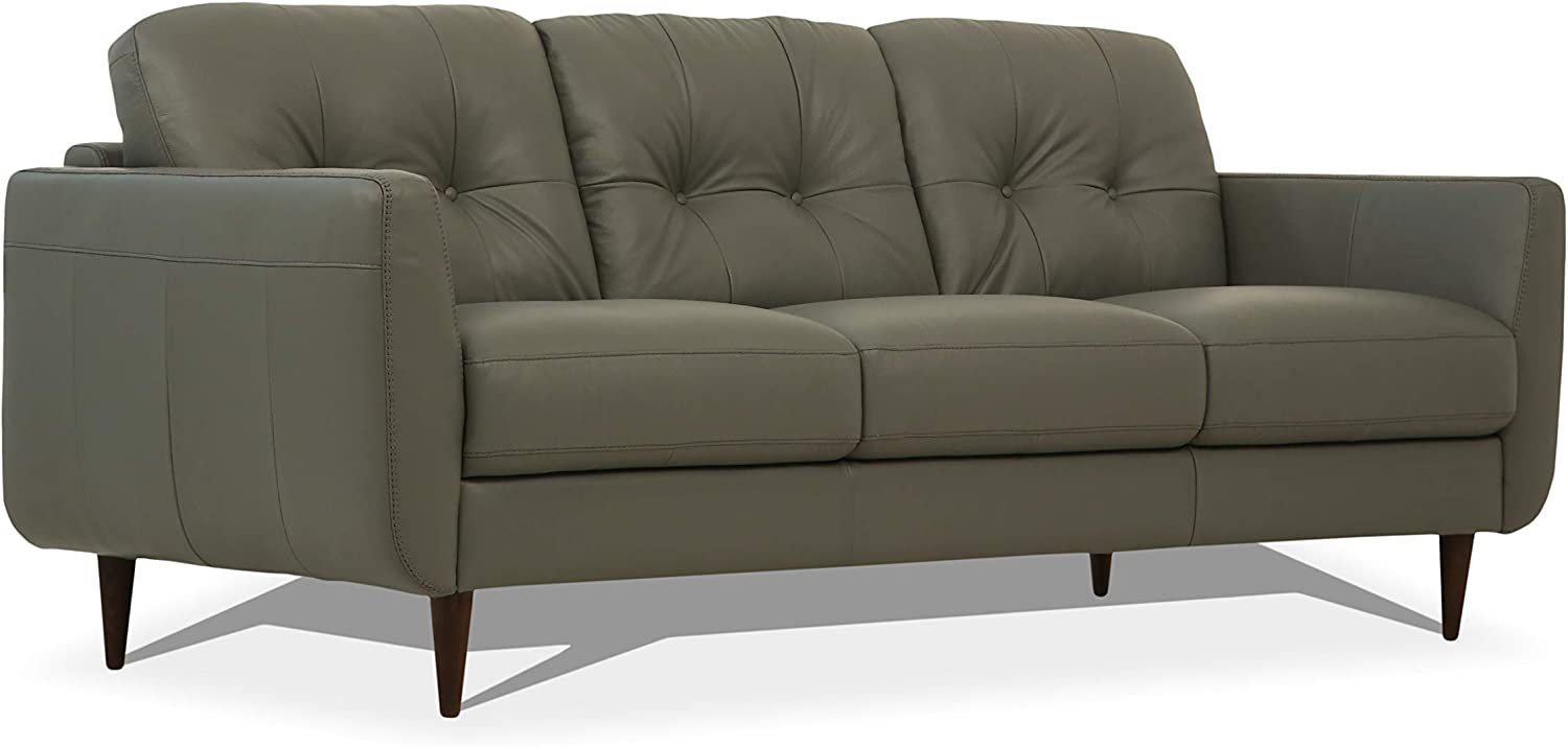 Amazon.com: ACME Furniture Radwan Sofa, Pesto Green Leather ...