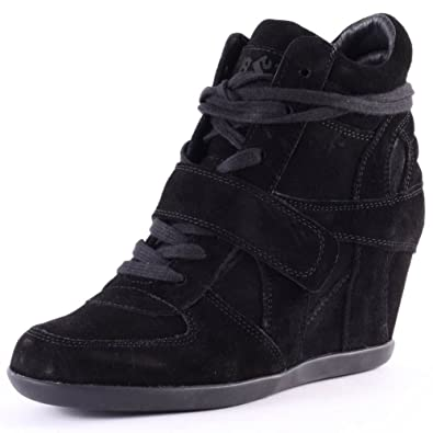 8b8cf5156bb3 Ash Bowie Wedge Black Suede Hi Top Trainer 38 Black  Amazon.co.uk ...