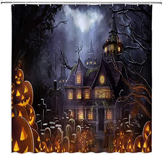 Waterproof Fabric Horror Forest Shower Curtain Halloween Night Bathroom Hooks