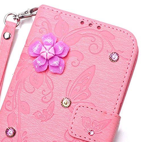 JIALUN-Personality teléfono shell Funda Samsung S6, Funda de piel PU con resina 3D Rhinetone Funda estampada mariposa Caja de flores en relieve con correa para la mano para Samsung S6 Seguridad y Moda Pink