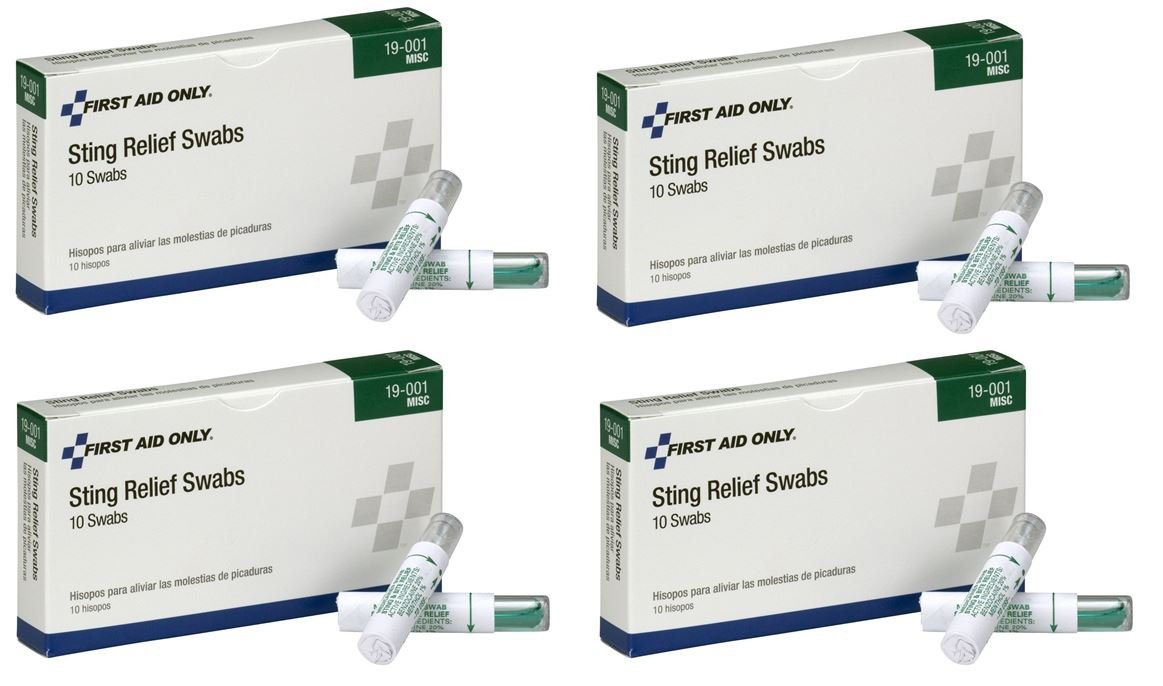 Sting Relief Swab 4 Packs of 10 Each Total 40 Pcs by Pac-Kit by First Aid Only 19-001