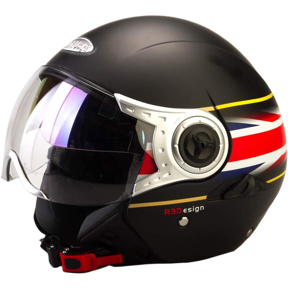 Viper RS-V18 Open Face Motorcycle Motorbike Scooter Jet Helmet - Union Jack Matt
