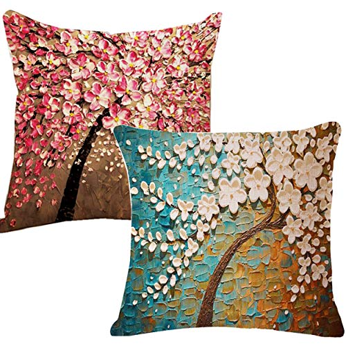 Unibedding Tree Throw Pillow Case Covers, Oil Painting Flower Spring Decorative Cushion Cover with 3D Flower for Sofa Couch Home Decor 18 X 18 Inches, 2 Pack Pink Blue Tree