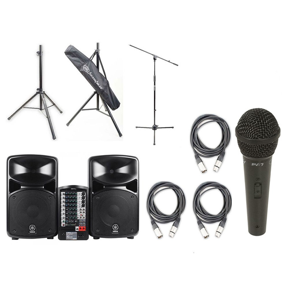 Yamaha STAGEPAS 600I Powerful Full Featured Portable PA System with ultimate speaker stands , microphones and Instrument Cables