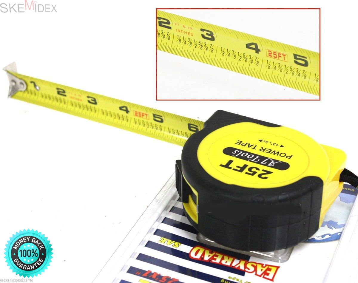 SKEMiDEX---SAE HD 25 ft x 1''TAPE MEASURING COMMERCIAL GRADE RULE MEASURER W/LOCK. Rugged, Impact-Resistant ABS Housing Easy to read Black on Yellow tape with Corrosion Resistant Coating