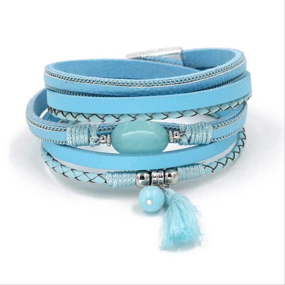 AMZIJ BraceletJewelry Boho Pulseras para Mujer Pulsera de Cuero Pulsera de Piedra con borlas Pulseras de otoño Invierno Femme AccesoriosB9005d Azul