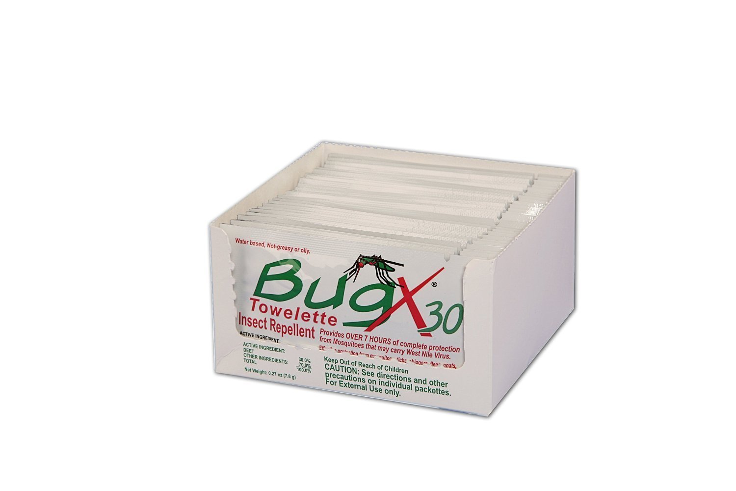 Bug X Insect Repellent Towelette Foil Pack, 25 Per Pack
