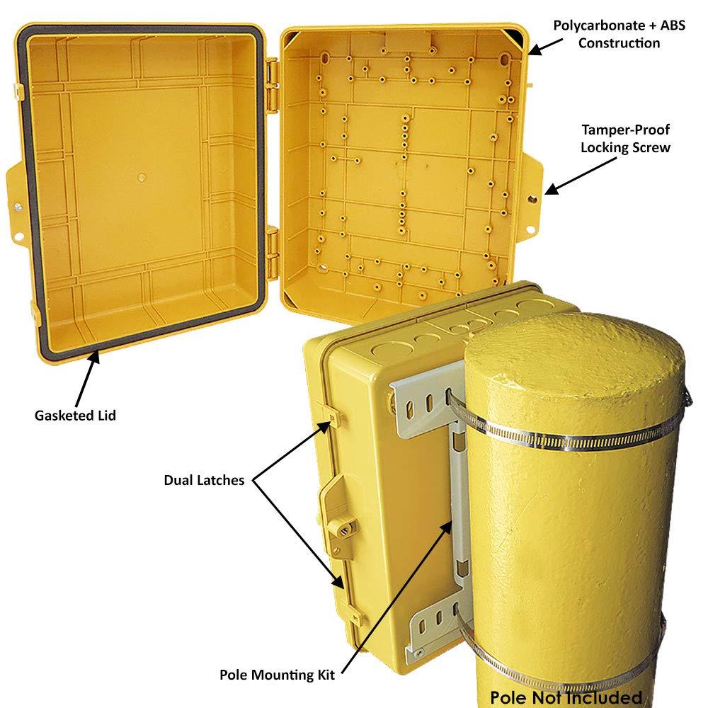 Altelix Yellow Pole Mount NEMA Enclosure (12'' x 8'' x 4'' Inside Space) Polycarbonate + ABS Weatherproof Outdoor High Visibility NEMA Box by Altelix (Image #2)