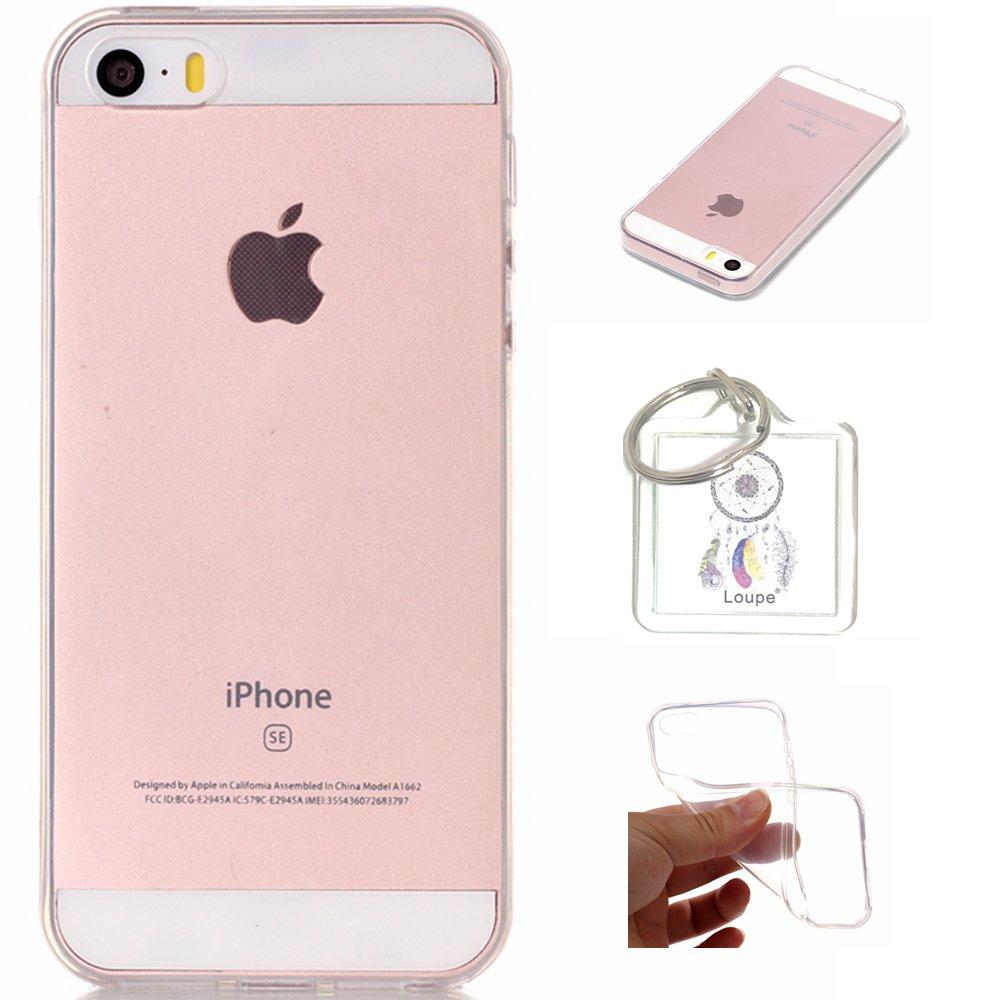 IPhone 5S / 5 / SE Case Soft Flex Transparent Silicone TPU Case Cover for iPhone 5S / 5, iPhone SE Case Cover - Crystal Clear + Key chain(Q)