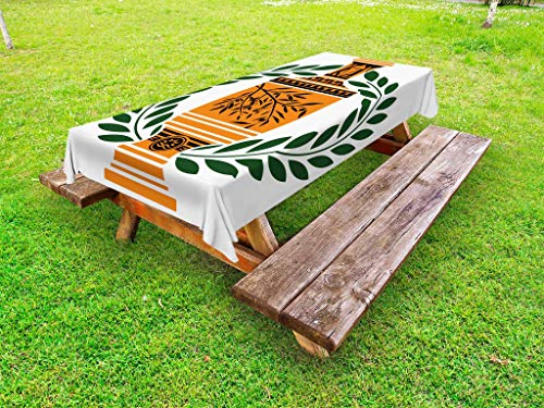 Ambesonne Toga Party Outdoor Tablecloth, Old Antique Greek Vase with Olive Branch Motif and Laurel Wreath, Decorative Washable Picnic Table Cloth, 58 X 84 Inches, Hunter Green Orange -