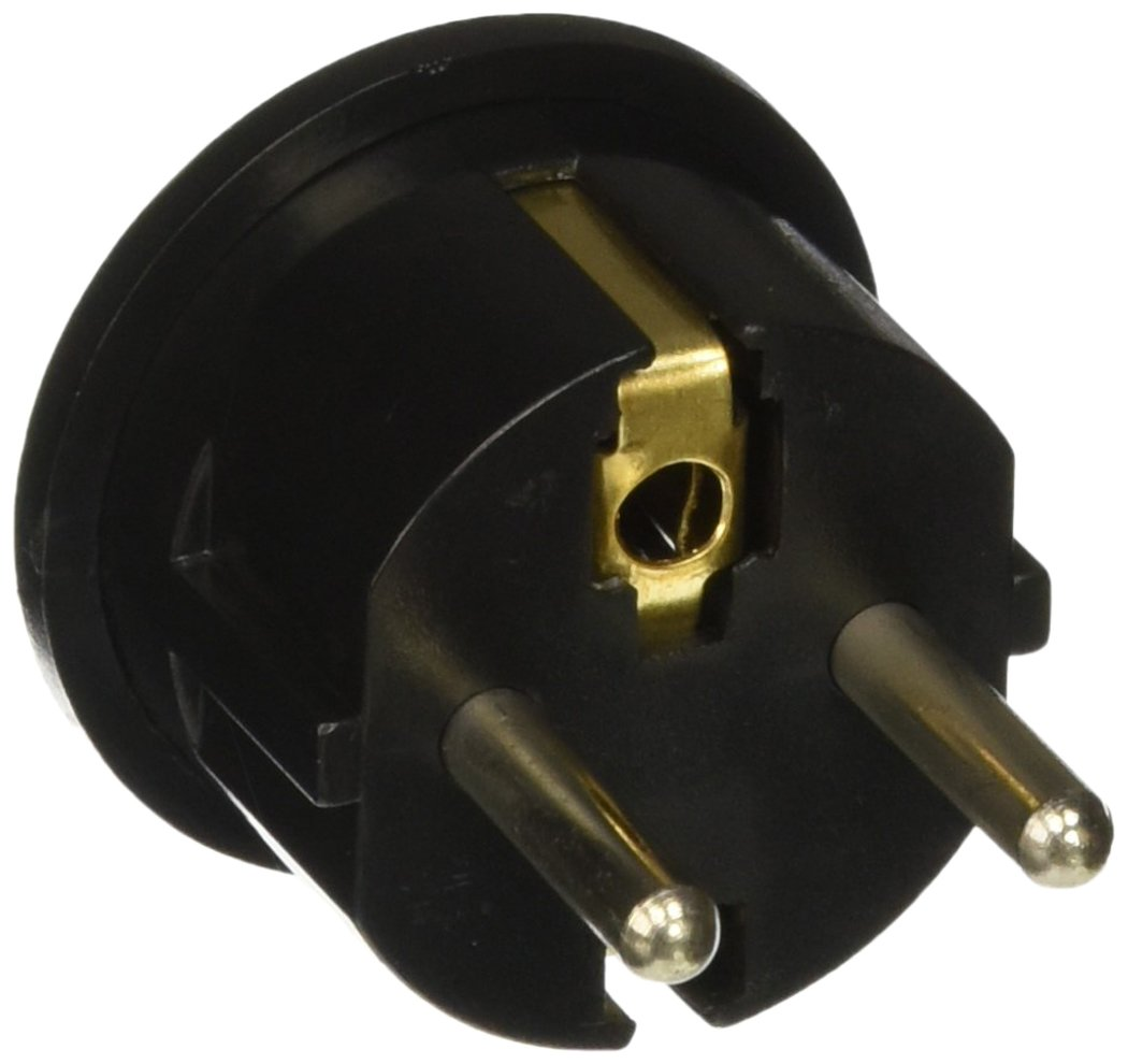 CKITZE BA-4 Grounded European German Schuko Power Plug Adapter Adaptor - American USA to German, France, Russia & more - Excellent Quality, Black or White