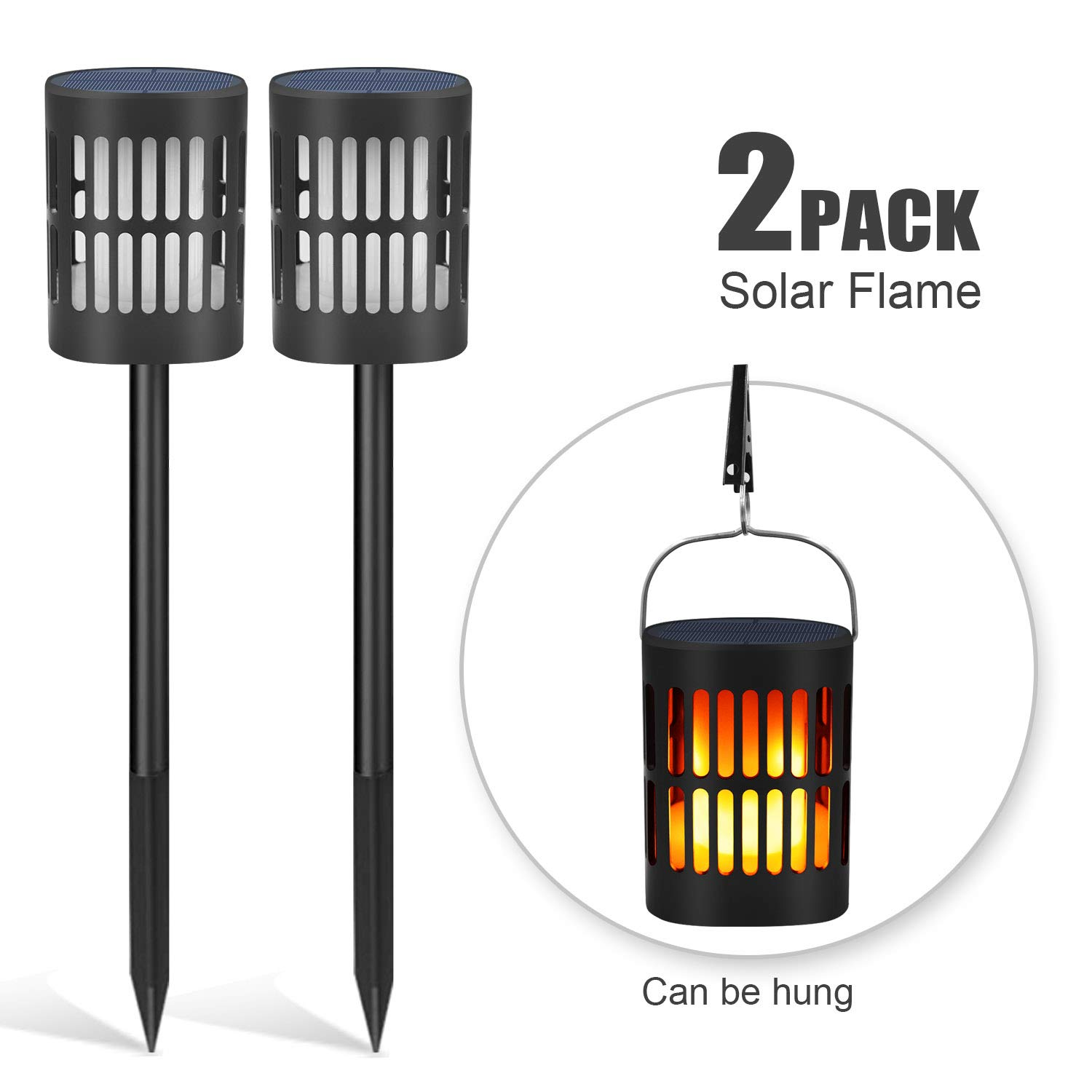 Solar Flame Lanterns Flickering Flames Torches Lights USB Charging Multipurpose Waterproof Solar Lights Outdoor Hanging Lanterns Lighting Dusk to Dawn Auto On/Off for Garden Patio Driveway 2 Pack