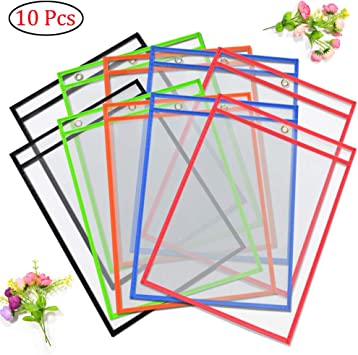 New Lot of 10 PCS Dry Erase Pockets Sleeves Reusable Write and Wipe Pockets