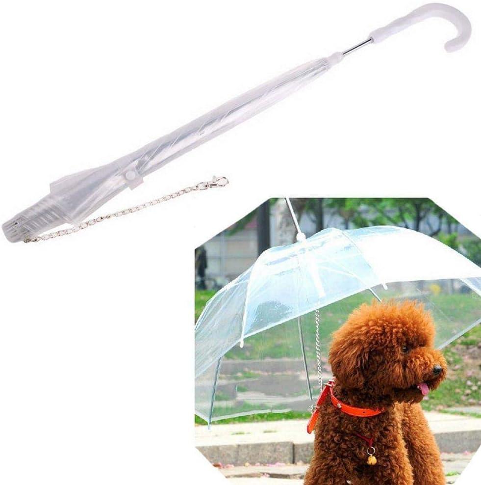 Depory Paraguas Transparente Pet con protección contra la Lluvia y la Nieve. con Paraguas para Perros y Gatos