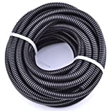 30FT Polypropylene Split Wire Loom Tubing Computer Cable Management Wire Cover Electrical Cord Hider Hose Protector Prevent Chewing Tube (1/2'' (12mm))