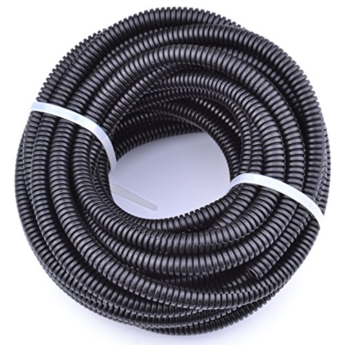 30FT Polypropylene Split Wire Loom Tubing Computer Cable Management Wire Cover Electrical Cord Hider Hose Protector Prevent Chewing Tube (1/2'' (12mm)) by vomvomp