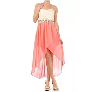 Neon Pink Strapless Chiffon Dress