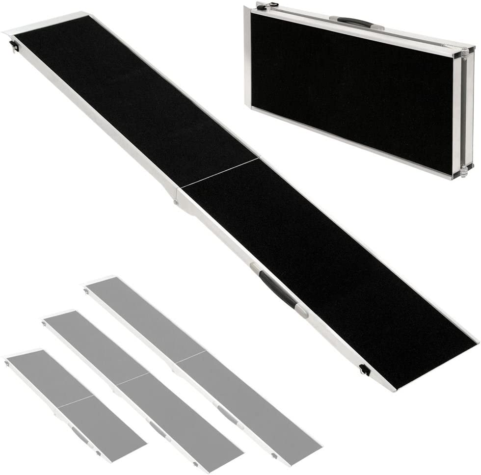 Longitud:244 cm Petigi Rampa para Perros Plegable Aluminio Coche Casa 4 Tallas Negro
