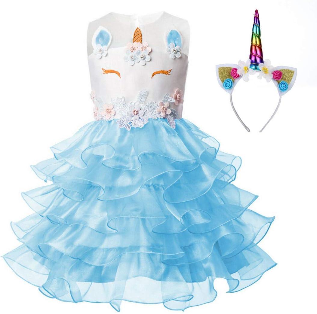 Pretty Princess Unicornio Vestido de Niñas Flor Partido Vestido De ...