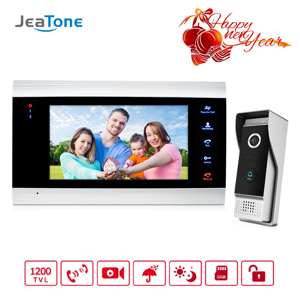 Jeatone Door Access Control 7 Inch LCD Display Video Doorbell Door Phone 1V1 HD 1200TVL Security Camera Intercom Home System by Jeatone