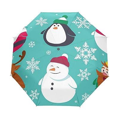ALAZA Snowman Snowflake Christmas 3 Folds Auto Open Close Anti-UV Umbrella