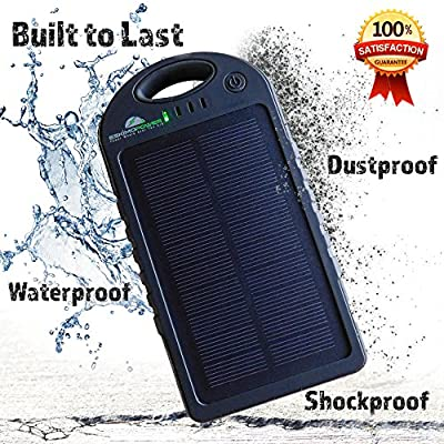 Solar Charger 12000mAh with Bonus Case, Solar Power Bank Dual USB Portable Charger, Solar Battery Charger for iPhone, iPad, Cell Phone, Tablet, Camera, Waterproof, Dust-Proof and Shock-Resistant