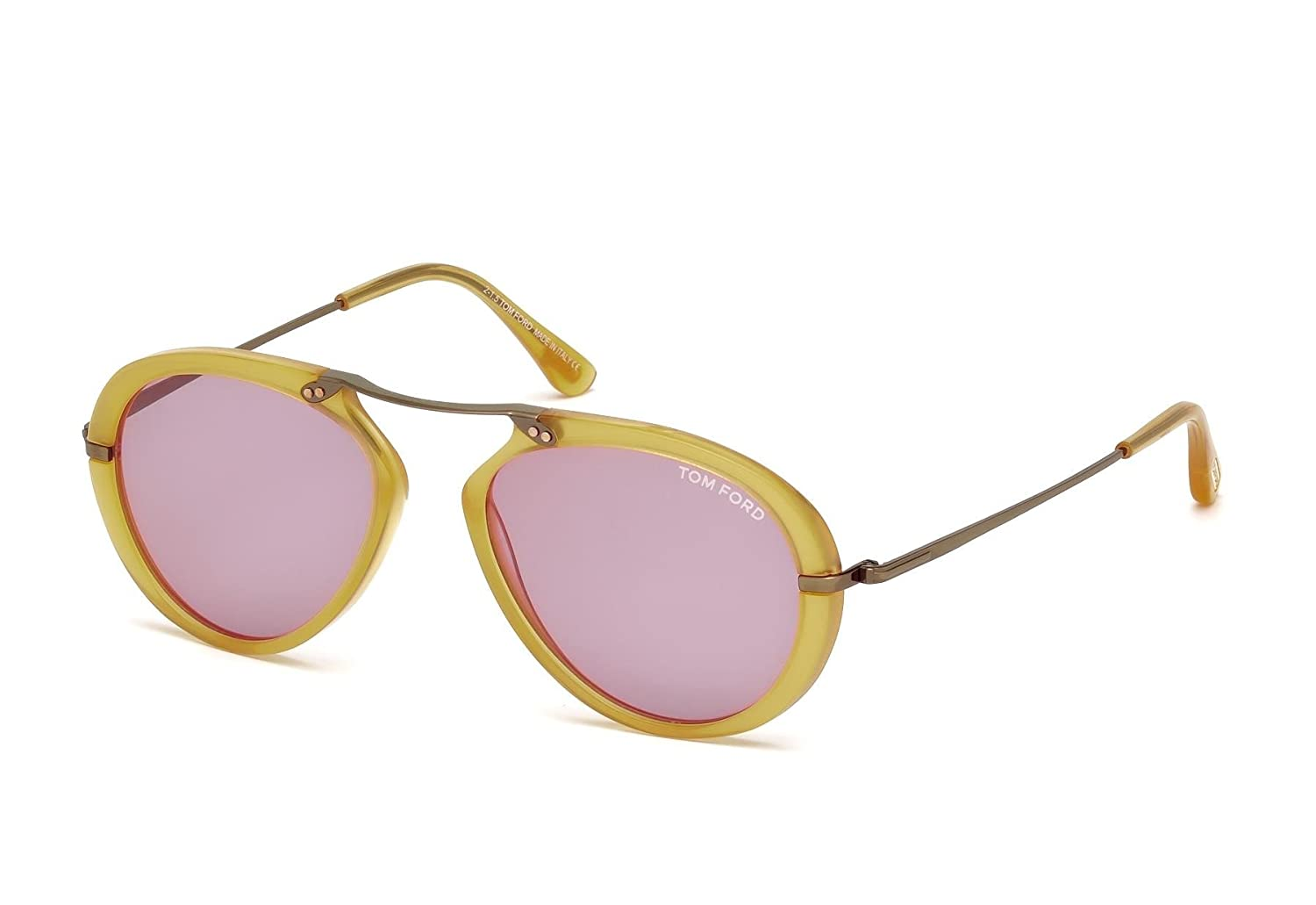 a241c1df55cff Amazon.com  Tom Ford Aaron FT0473 Sunglasses Yellow w Purple Lens 39Y  TF0473 473  Clothing