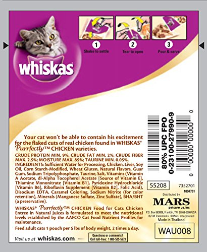 WHISKAS-PURRFECTLY-Chicken-Wet-Cat-Food-Chicken-Entree-Flavor-3-Ounces-Pack-of-24