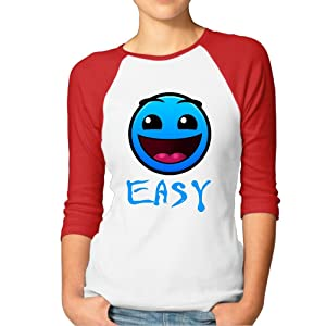 Ladies Geometry Dash Game Raglan Baseball T-Shirt