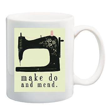 Make Do y reparar VINTAGE taza máquina de coser taza - 11 onzas: Amazon.es: Hogar