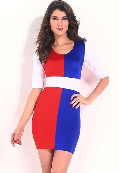 Nuevas señoras rojo azul y blanco vestido Casual noche fiesta wear tamaño M UK 10 –