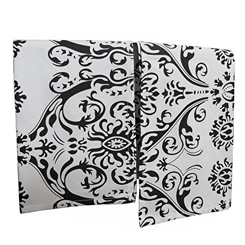 Crabtree Collection Premium Quality Set of 2 Kitchen Dish Towels 100% Cotton Absorbent Tea Towels - Classy Black Damask Design - Ideal 18
