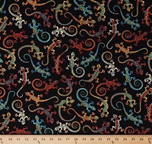 Cotton Lizards Geckos Multi-Color Desert Animals on Black Southwestern Cotton Fabric Print by The Yard - Fabric Print Southwestern
