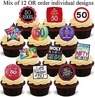 12 X 50th Birthday 50 Fifty Design Mix