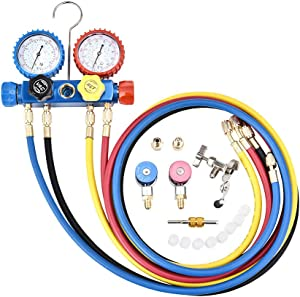 Professional 4 Way Refrigeration Gauge , 5FT Hose AC Diagnostic Manifold Gauge Set with 3 Acme Tank Adapters, Adjustable Couplers and Can Tap fits R134A, R410A and R22 Refrigerants