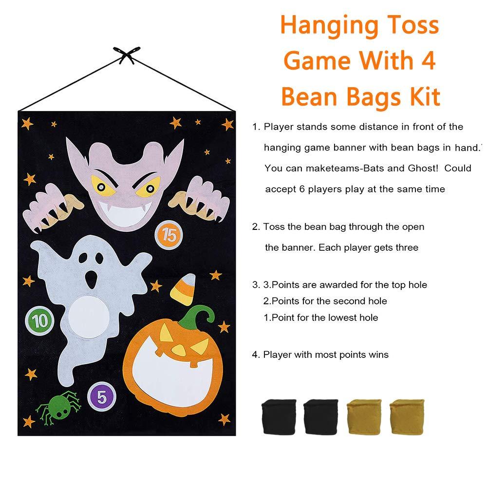 Set B 4pcs Bean Bagswith Gift Bag Halloween Indoor Outdoor Throwing Games for Kids Halloween Party Decoration Evance Halloween Bean Bag Toss Games Set