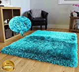5-Feet-by-7-Feet Pile Rug Fluffy Fuzzy Modern Home Store Solid Kitchen Outdoor Indoor Bedroom Living Room Throw Carpet Floor Shag Rug Light Blue Dark Blue Aqua Blue Turquoise ( Romance Turquoise )