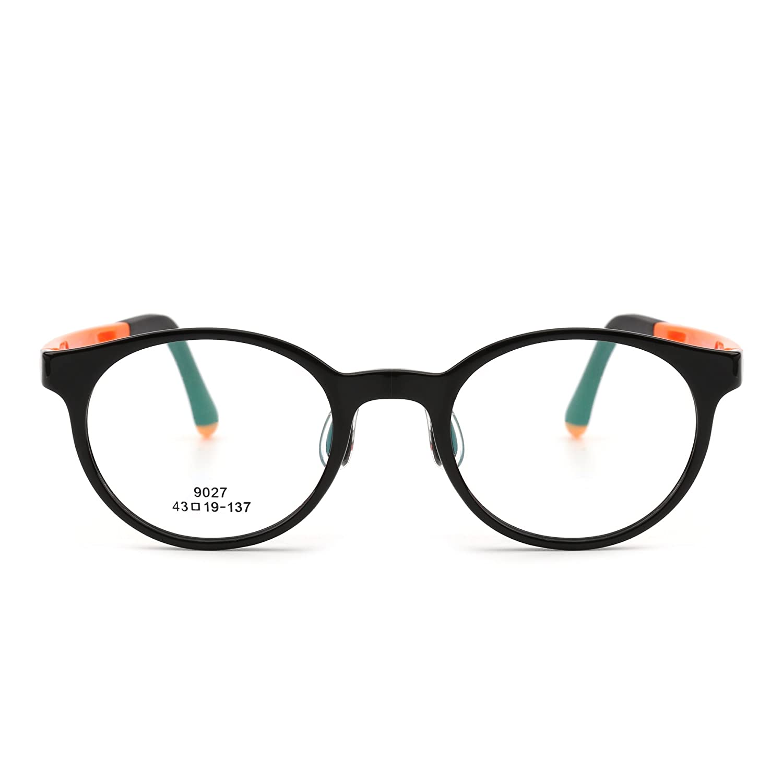 Kinder Rund Brillen Optisch TR Rahmen Mädchen Jungen Nicht Verschreibung Klar Linse 9027C13-3