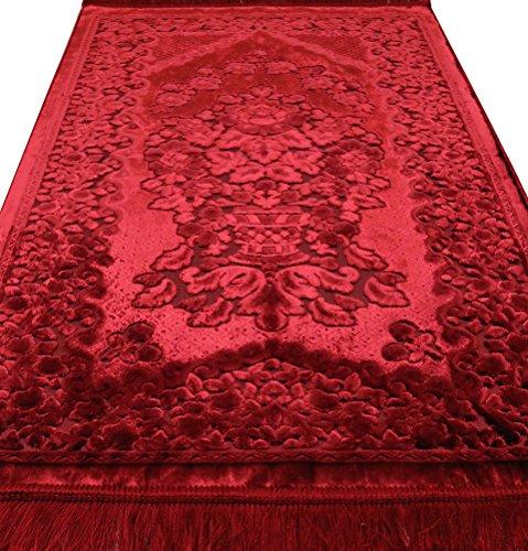 Modefa Velvet Islamic Prayer Rug with Prayer Beads Turkish Janamaz Sajadah Luxury Plush (Red)