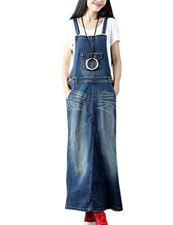 3e75156f63f3 Flygo Women's Elegant Ankle Length Long Denim Jeans Jumpers Overall Pinafore  Dress Skirt (Large,