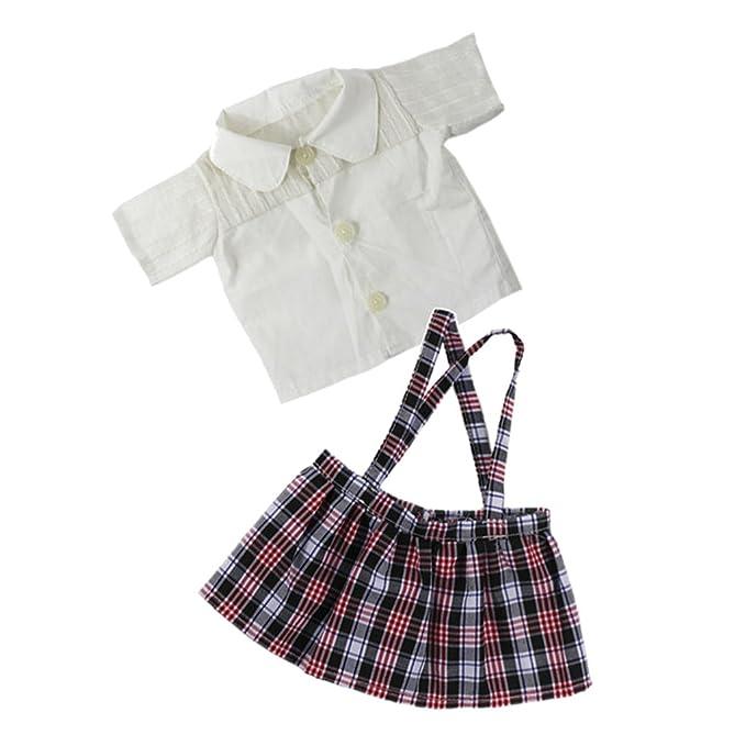 Amazon.es: MagiDeal Camisa Blanca y Correa de Hombro Mini Falda ...