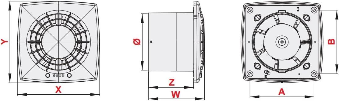 Gris de salle de bain Extracteur dair 100/mm//10,2/cm avec roulement /à billes Mur ventilateur de plafond Wgs100