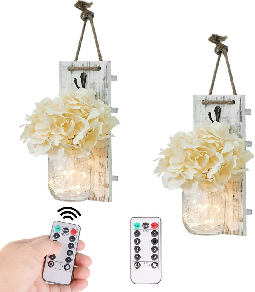 Mason Jar Wall Decor Rustic Wall Sconces with Fairy Light String and Silk Hydrangea, Decorative Flower Wall Decor with 8 Different Functions LED Lights, Wooden Boards with Remote Control set of 2