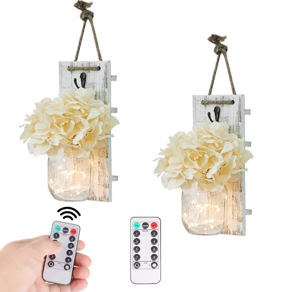 Mason Jar Wall Decor Rustic Wall Sconces with Fairy Light String and Silk Hydrangea, Decorative Flower Wall Decor with 8 Different Functions LED Lights, Wooden Boards with Remote Control set of 2 by IVYSHION